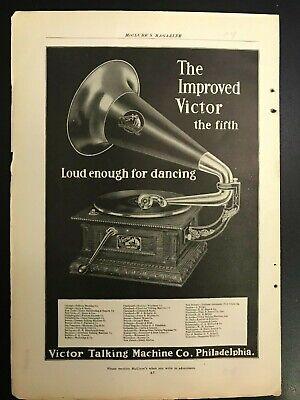 1904 VICTOR RECORD PLAYER TALKING MACHINE ORIGINAL VINTAGE AD