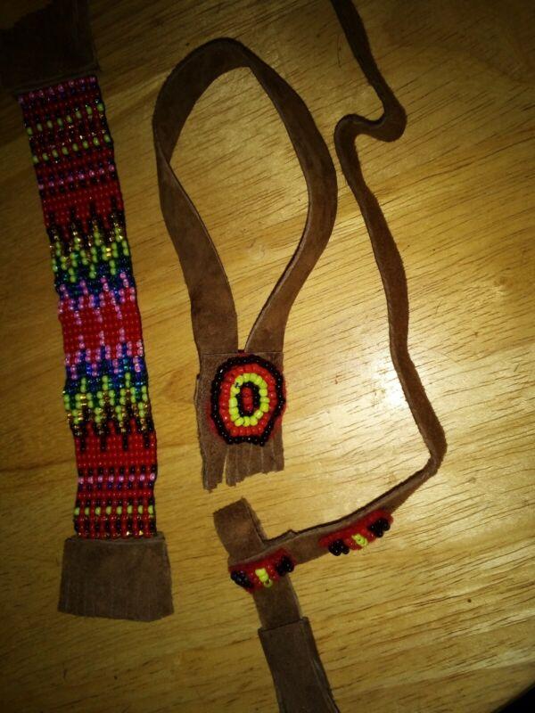Breyer Stone  custom Indian frontier Native costume Beaded brown