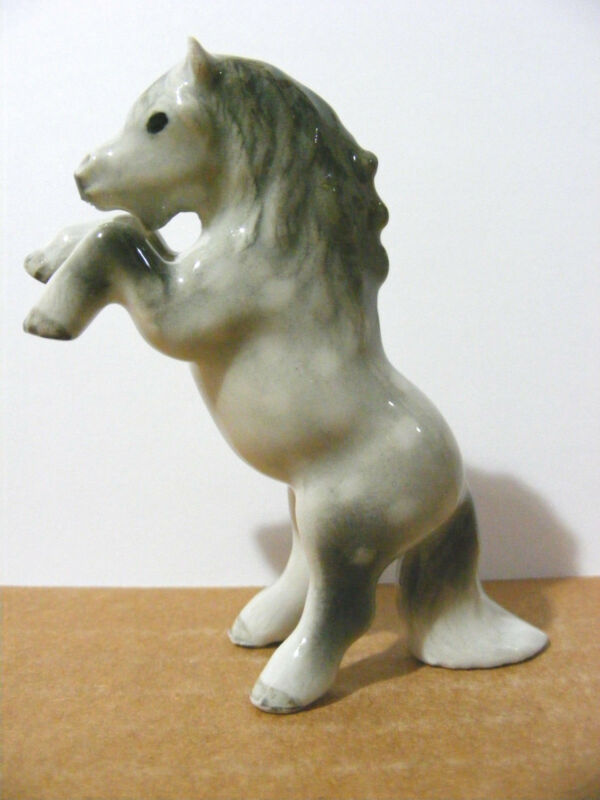 Klima Shetland Pony Dapple Grey Rearing Up   Miniature Animal Figurine   Horse