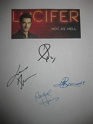 Lucifer Signed TV Script x4 Tom Ellis Lauren German Lesley-Ann Brandt reprint