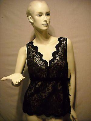 Ann Taylor Loft Top Size 6 Mock 2 Piece Nude Black Lace Sleeveless top Size 6