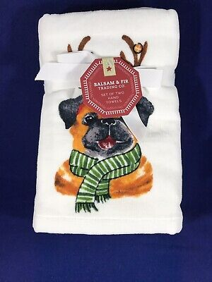 NWT Set Of 2 Pug Dog Holiday Hand Towels By Balsam /& Fir