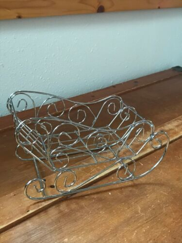 Estate Table-Top Silver Colored Open Wore Christmas Holiday Sleigh Decoration –