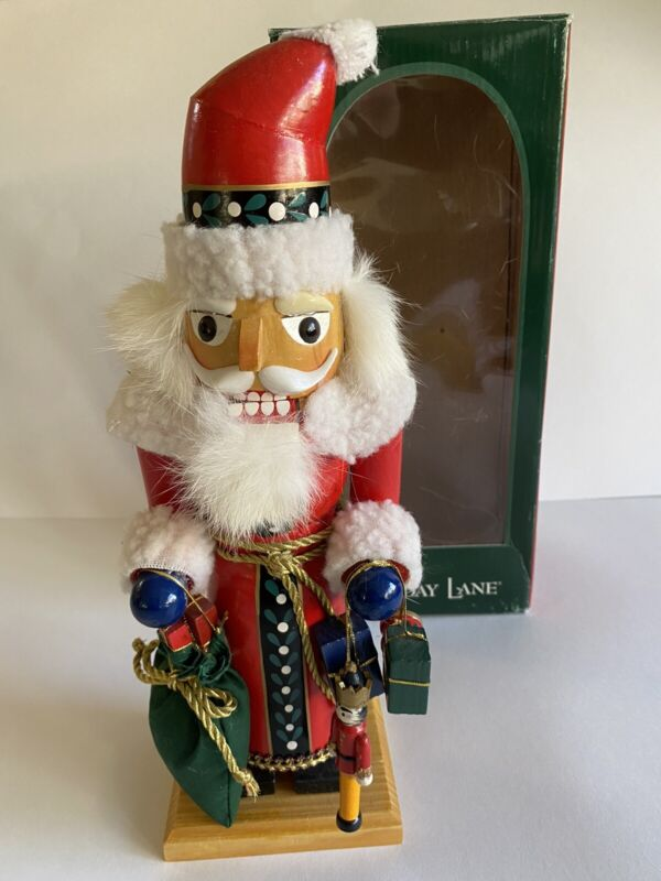 Holiday Lane Nutcracker SANTA Carved Wood Decorative Christmas Decoration NEW