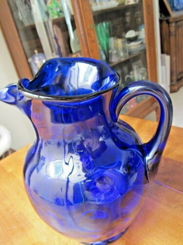 Cobalt Blue Pitcher with Ice Lip, 96 oz, rare round circles in body if glass,