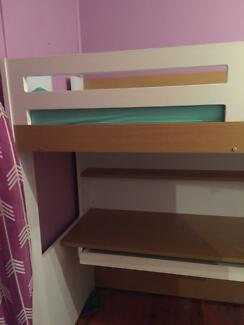 White High Sleeper Bunk Bed With Desk Robe With Single Mattress