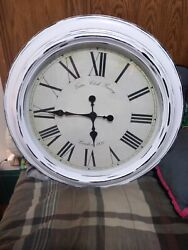 Large Wall Clock 24 Virtue Clock Factory London 1831 on front. White/ Black