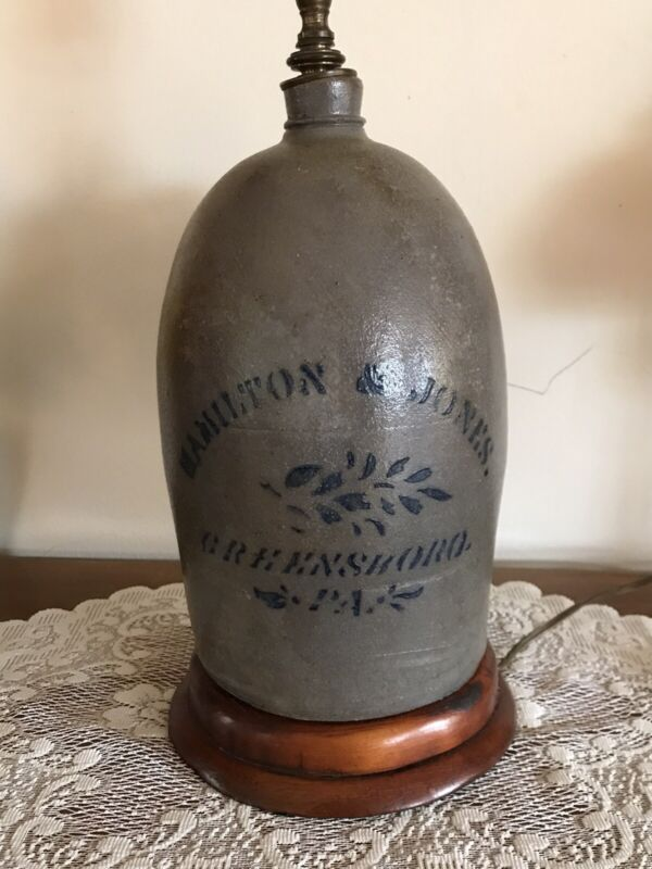 Antique Stoneware Jug Lamp Cobalt Blue Stencil Hamilton Jones Greensboro, Pa.