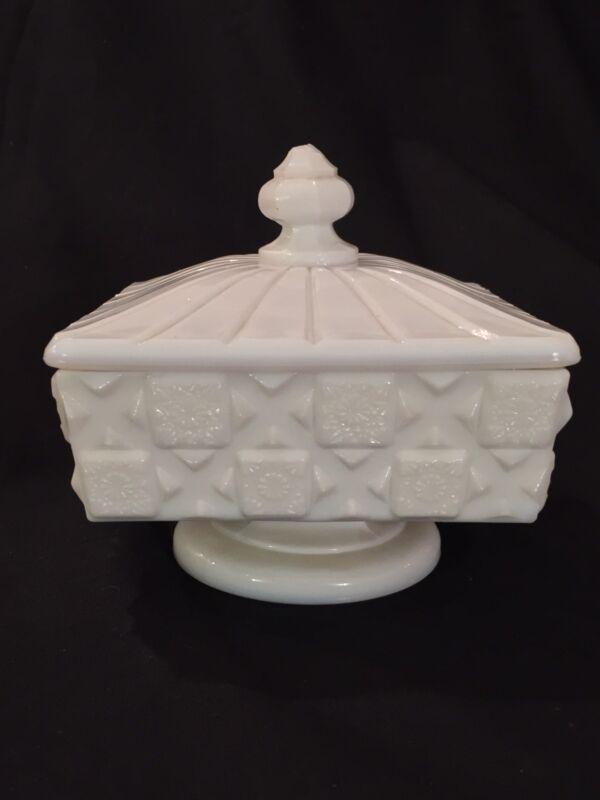 Vintage Westmoreland Milk Glass Old Quilt Lidded Pedestal Dish - See Pics