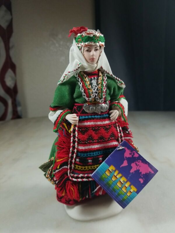 EVELT Porcelain Handmade Doll In Traditional Kapoutzides Costume Made In Greece