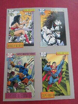DC Cosmic Cards Rare 4 Card Promo Sheet Superman Wonder Woman - Impel 1991.NM/M