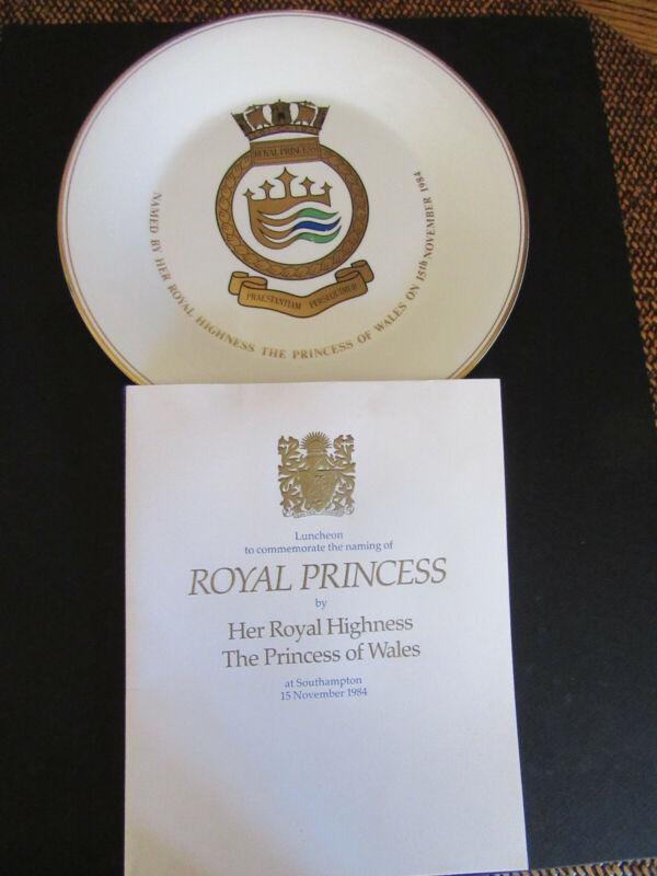 Royal Princess Inaugural Menu & Plate Rare Princess Cruises Collector Items 1984