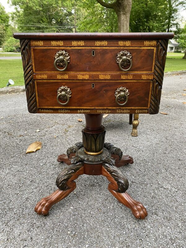 Period American Classical Mahogany Empire Work Table - Gold Stencil - Baltimore