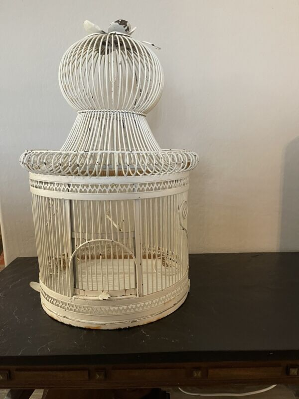 Large Antique Victorian Wrought Iron Bird Cage W/ Dome -Flower Great Condition