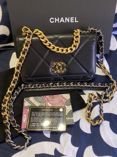 💎 Chanel 19 WOC 💎 TRI Color Hardware Gold Silver Mini Rare Goatskin Bag Black