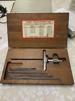 Vintage Starrett Micrometer Depth Gage Original Wooden Box