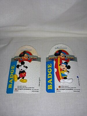 Vintage Disney Mickey & Friends Set of Two Mickey Badges/Pins NOS