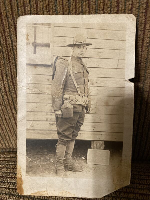 WWI Photo Postcard Of Doughboy Soldier