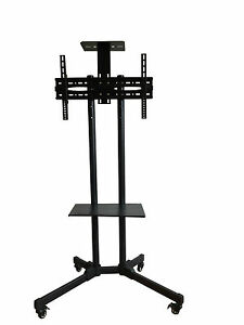 Training Room Portable Display TV Stand Trolley With Shelf For 32