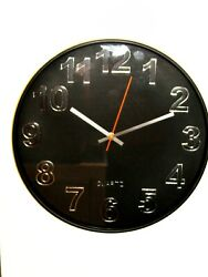 NEW  14 BLACK WALL CLOCK WITH QUIET SWEEP- ITEM NUMBER SC 131 B
