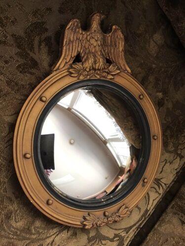 "Vintage American Federal Eagle Mirror 13"" Round Convex Giltwood Gold Ornamental"