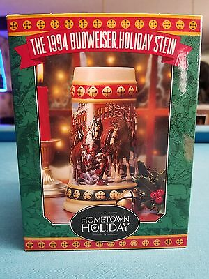 1994  Anheuser Busch  AB  Budweiser Holiday Christmas Beer Stein Clydesdales NIB