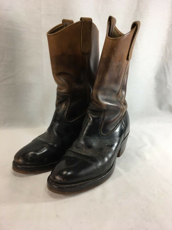 "VTG, Unbranded, Cowboy, Roper, Boots, Mens, 9, Brown, Leather, 12"", Tall, Distressed"