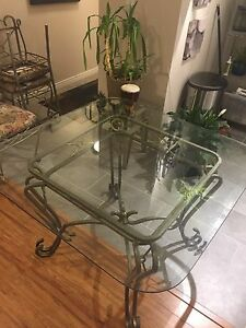 Glass/metal dining table and 4 chairs
