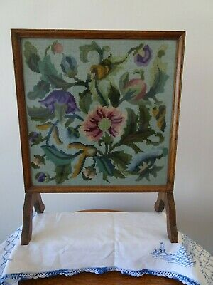 Antique VTG Standing Fireplace Screen Oak Wood Framed Needlepoint  for sale  Shipping to Canada