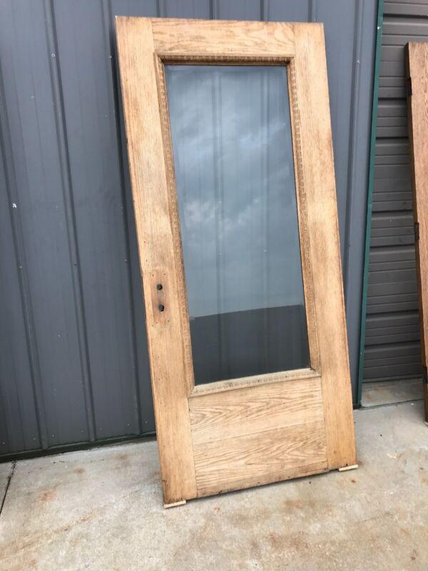 An547 Antique Stripped Oak Beveled Glass Entrance Door 35 7/8 X 79.5 X1 3/4