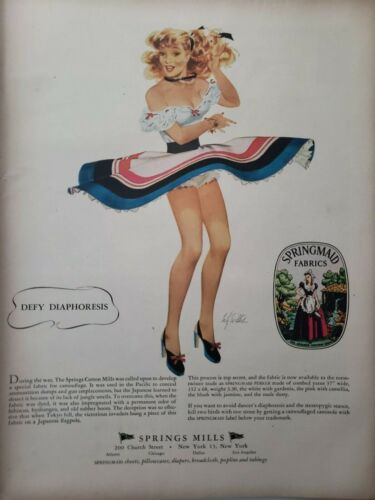 Lot Vintage 1948 Springmaid Fabric Print Ads Ephemera Art Decor