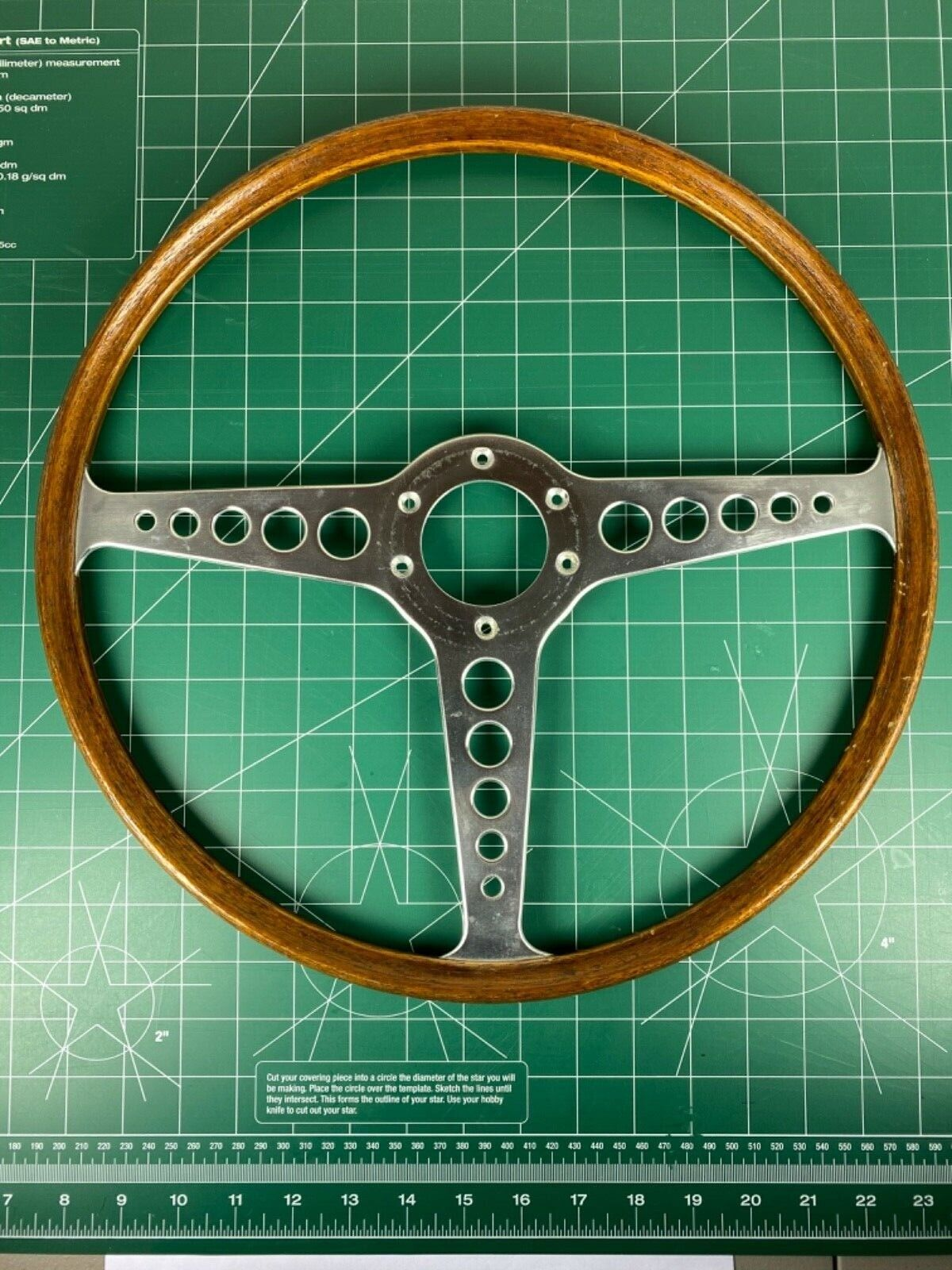 "Jaguar XKE E-Type Original Steering Wheel 16"" Wood Rim"