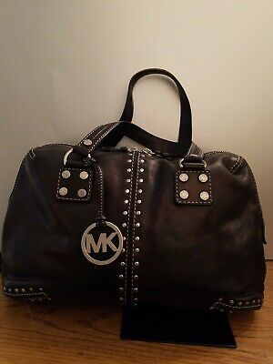 Michael Kors Astor Black Leather Studded Convertible Satchel Bag Ladies Studded Satchel