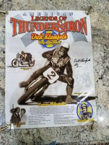 LEGENDS THUNDER IRON DICK KLAMFOTH SIGNED MOTORCYCLE RACING 49 KING BEACH POSTER