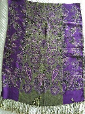 New Pashmina Silk Purple & Gold w/ Gold Thread Shawl Scarf Wrap Runner