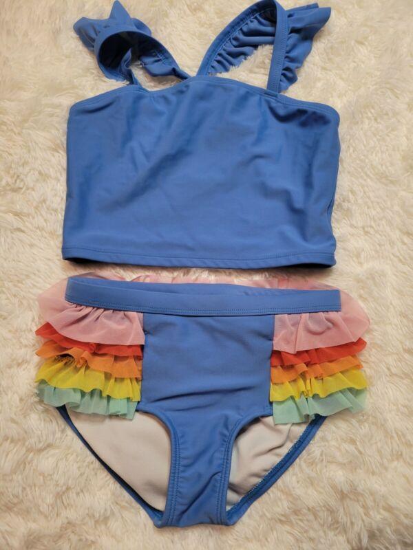 Hanna Andersson Girls Swim Size 130 cm US 8  Bikini Rainbow Tulle