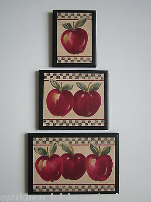 Apple Signs Kitchen Wall Decor 3 country farm house style plaques red apples