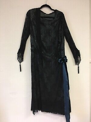 Authentic flapper era 1920s black lace dress with blue lining jet beads wearable](20s Era Dresses)
