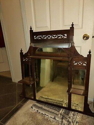 Antique Edwardian Mahogany Over Mantle Mirror