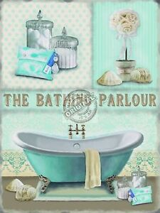 VINTAGE STYLE RETRO METAL WALL SIGN PLAQUE SHABBY CHIC BATHROOM PICTURE DECOR