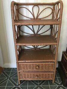 Wicker shelf table