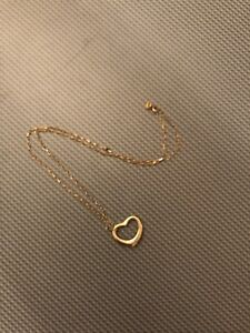 Tiffany & Co. Open Heart Pendant Necklace Yellow Gold
