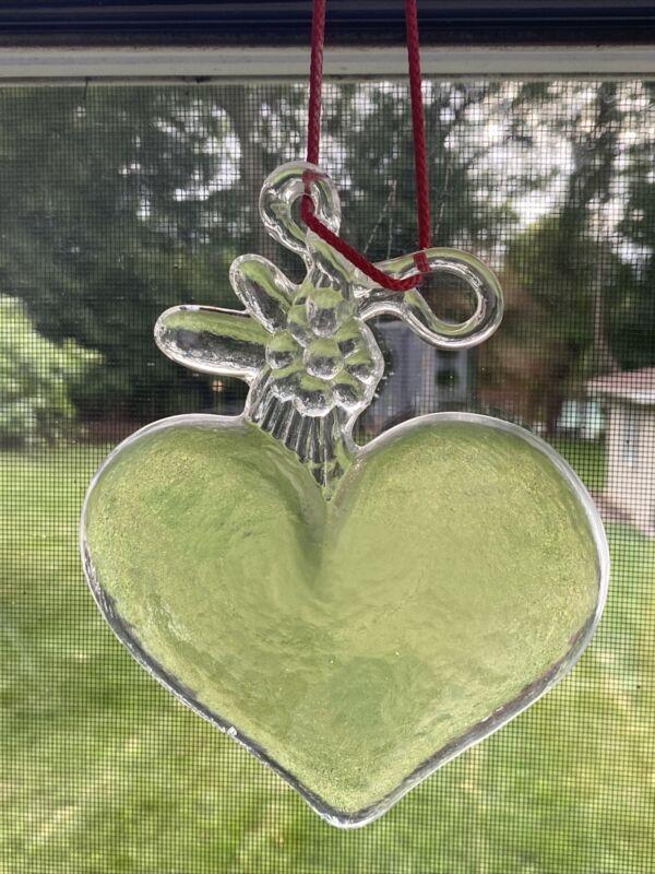 Kosta Boda Sweden Suncatcher Glass Heart Window Hanging