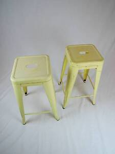 Rustic Yellow Industrial Style Stools Mangerton Wollongong Area Preview