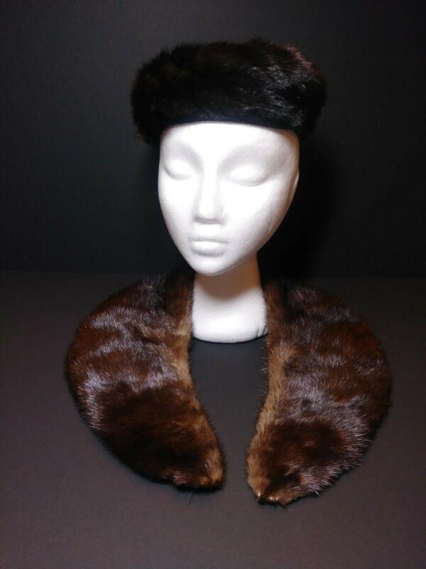 Vtg Fur Pillbox Hat W/ Matching Stole Collar Shoulder Brown