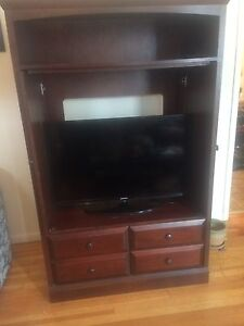 Dark maple entertainment unit
