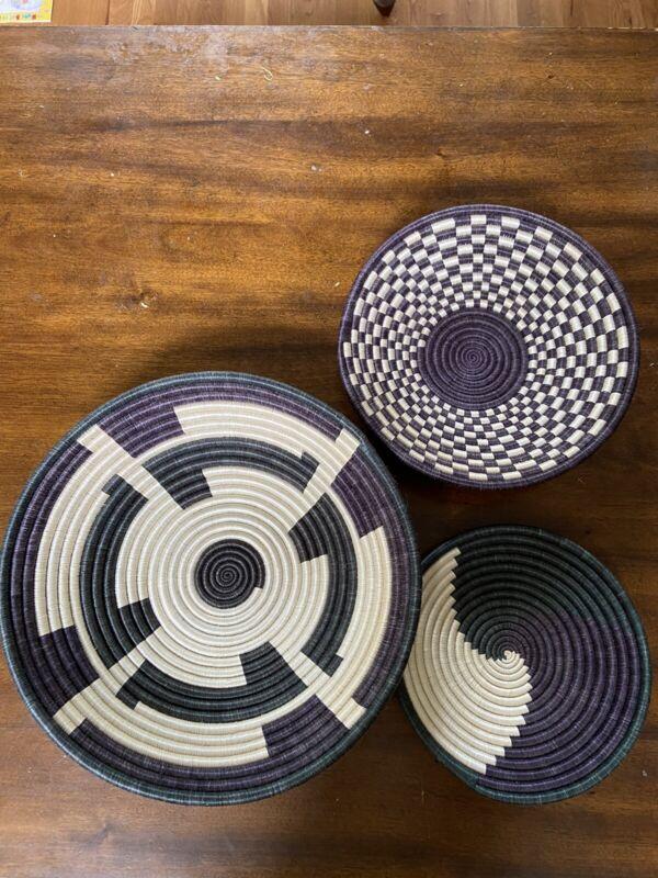 RARE! Set Of 3 Macys Collection Rwandan Bowls/Baskets Handwoven W/ Certificate