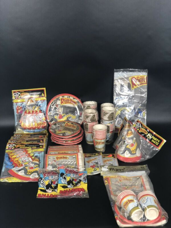 Vintage LOT of Who Framed Roger Rabbit PARTY SUPPLIES.... See Descripiton