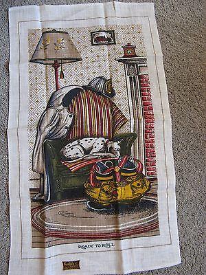 NWT Vintage Mid Century Retro KayDee Linen Tea Towel Fireman Dalmation