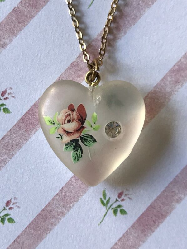 Vintage Satin Frost Glass Heart With Rose Rhinestone Gold Tone Necklace Pendant